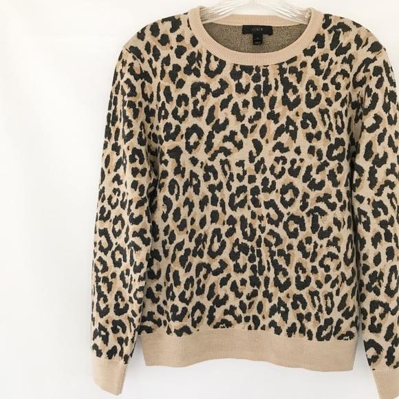 aa336e0d5c61 J. Crew Tops | J Crew Merino Wool Crewneck Sweatshirt In Leopard ...